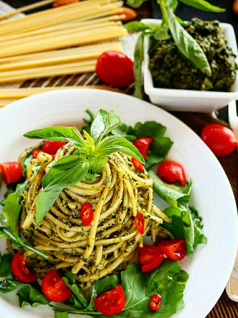 Basil Almond Pesto Pasta